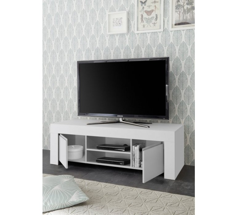 Banc TV blanc design SORRENTE