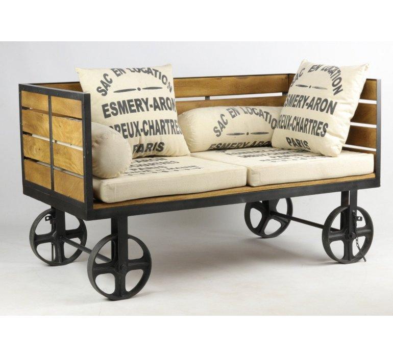 Canapé industriel sur roulettes WHEEL
