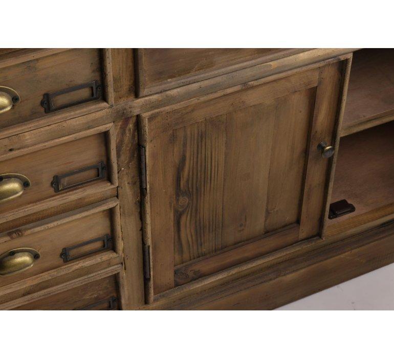 Buffet industriel apothicaire bois recyclé et zinc OAKLAND