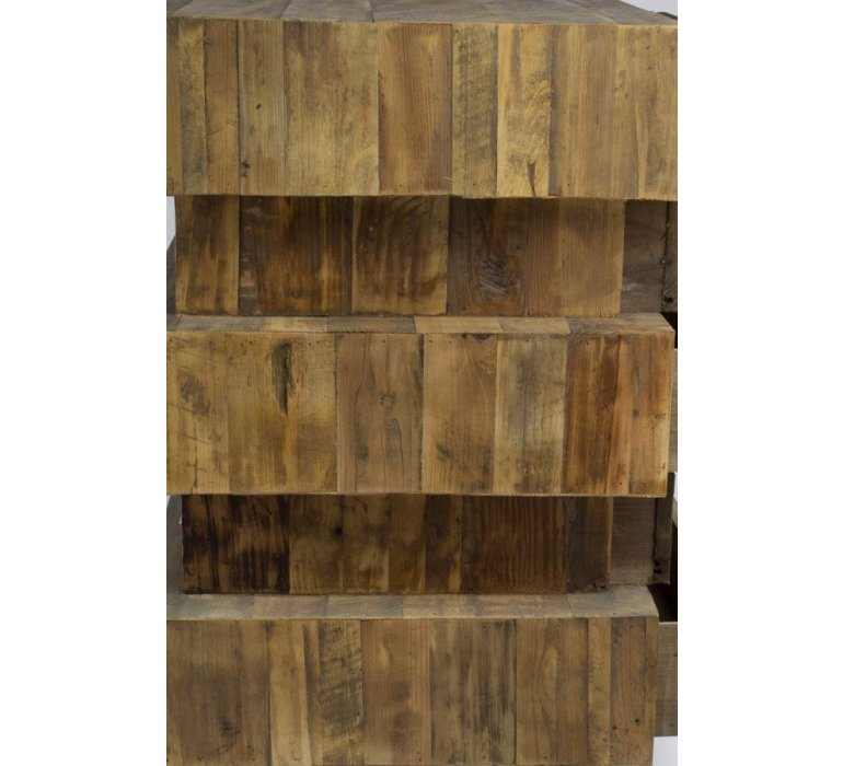 Chiffonnier apothicaire bois recyclé industriel OAKLAND