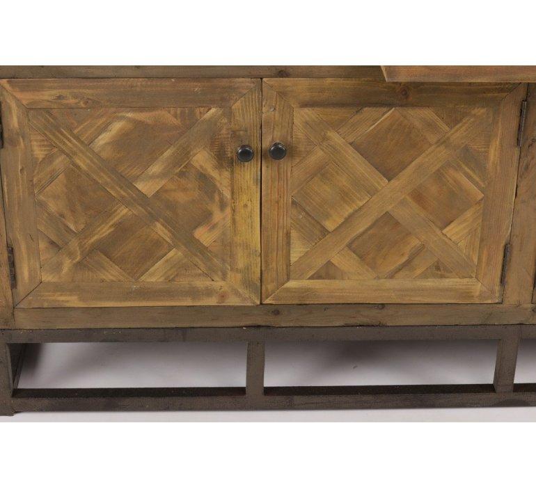 Buffet industriel apothicaire bois recyclé OAKLAND