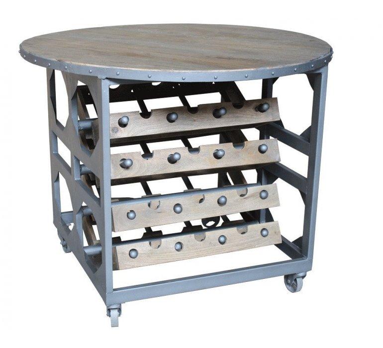 Table ronde industrielle porte bouteilles OREGON