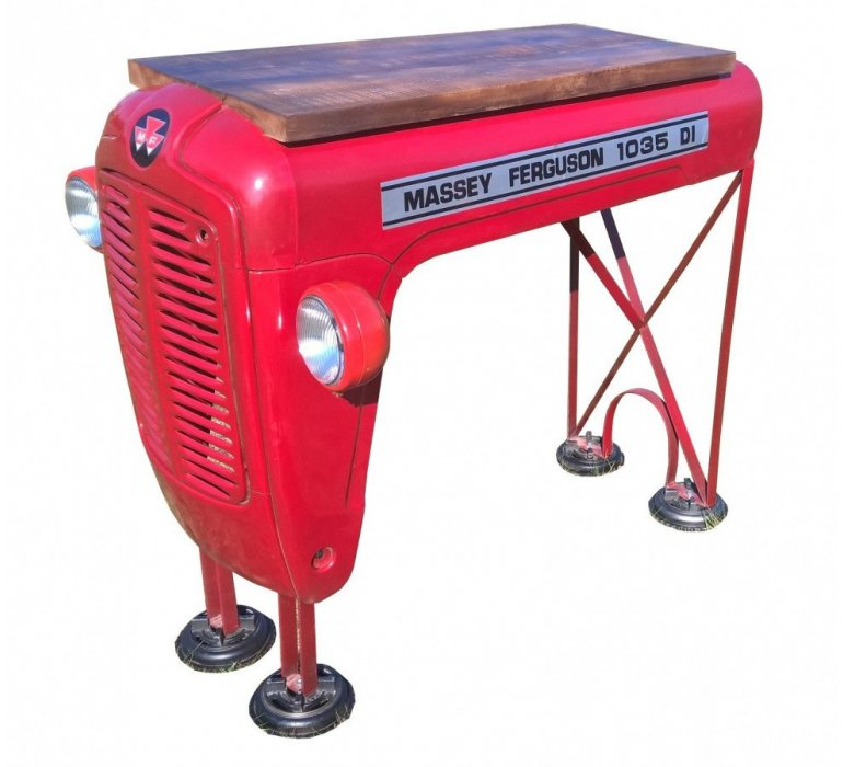 Table bar calandre tracteur style upcycling FERGIE