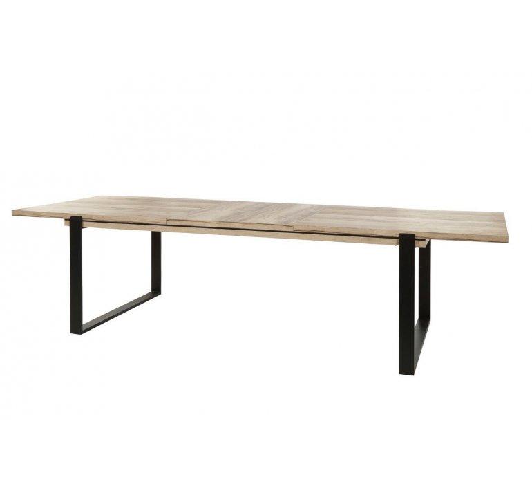 Table à manger coloris bois et noir moderne AMBER