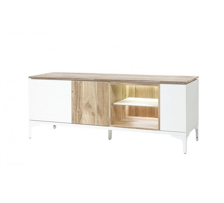 Banc TV blanc et coloris bois scandinave GRIMSTAD