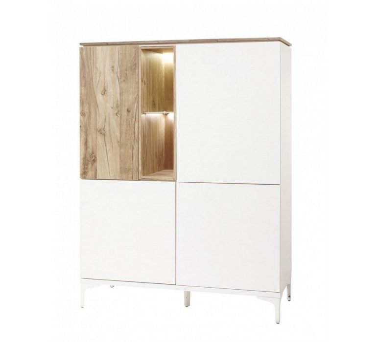 Vaisselier blanc et coloris bois scandinave GRIMSTAD