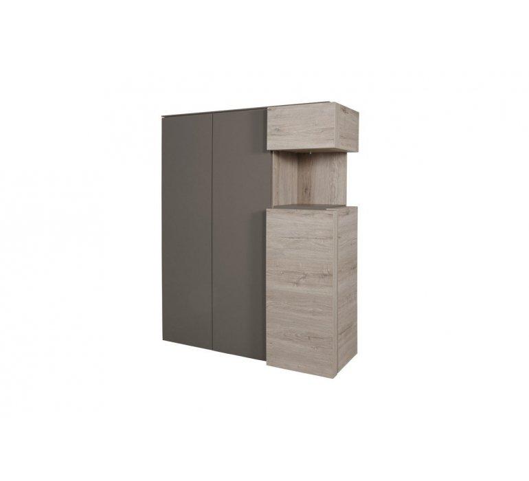 Vaisselier taupe et coloris bois moderne KEROS