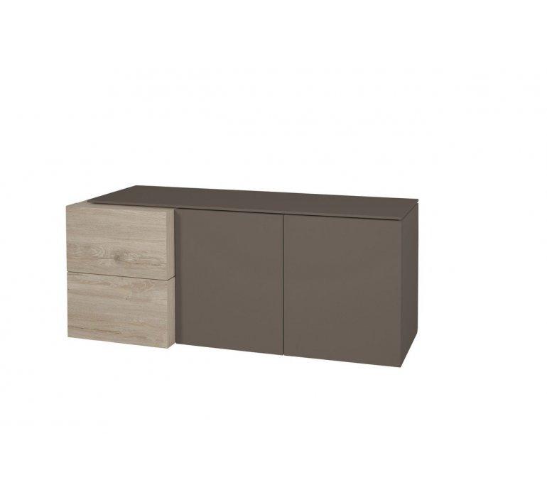 Meuble TV taupe et coloris bois moderne KEROS
