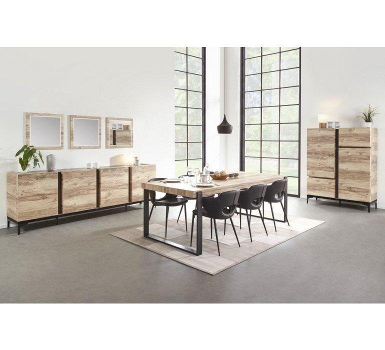 Vaisselier coloris bois et noir moderne AMBER
