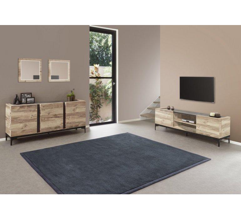 Banc TV coloris bois et noir moderne AMBER