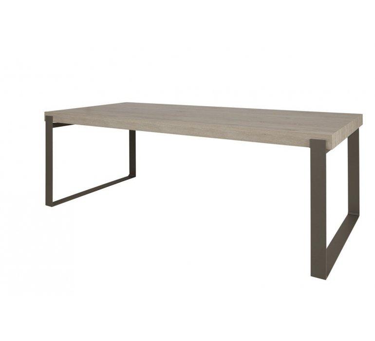 Table à manger coloris bois et taupe moderne KEROS