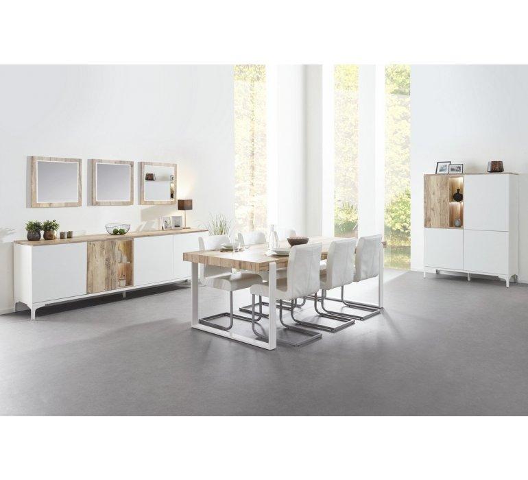 Table à manger coloris bois et blanc scandinave GRIMSTAD