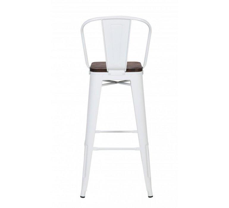 Chaise de bar industrielle métal blanc et bois HIPSTER