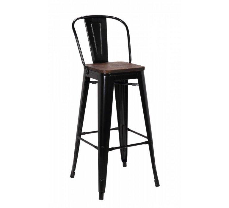 Chaise de bar industrielle métal noir et bois HIPSTER