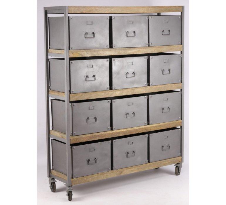 Meuble casier industriel sur roulettes OREGON