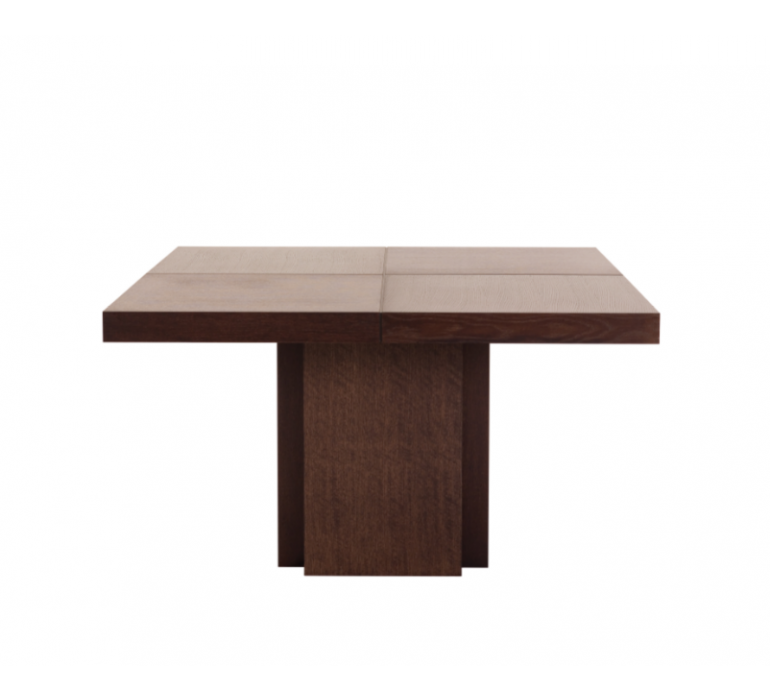 Table carrée moderne coloris noyer CHRISTIAN