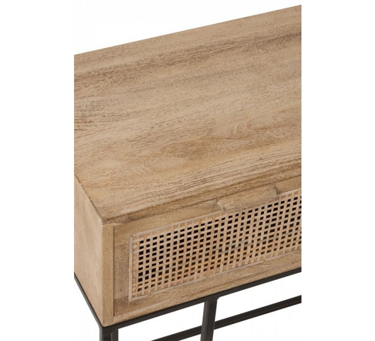 Console bois clair et cannage 3 tiroirs scandinave GÜSS