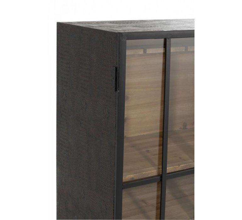 Meuble bar industriel 2 portes vitrées bois et métal DRINK