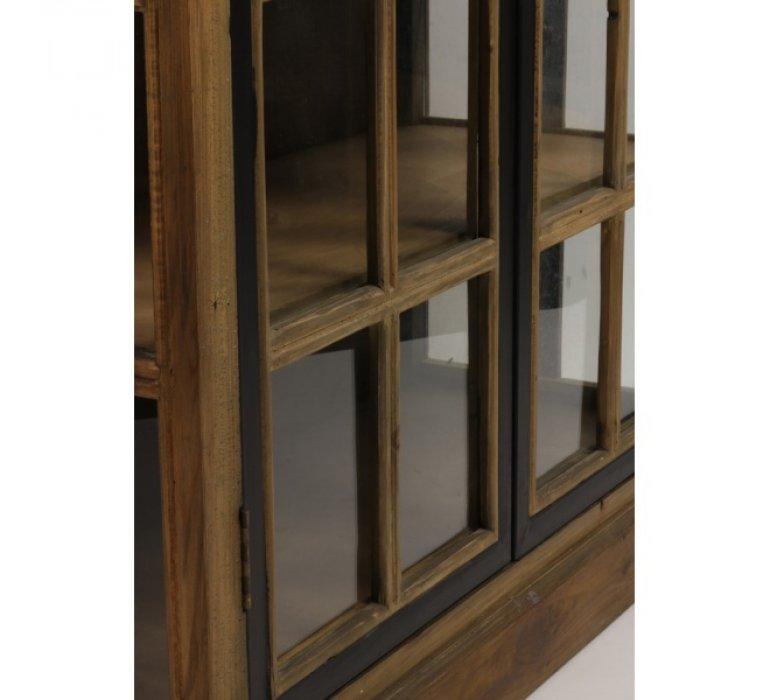 Vitrine bois massif industrielle 2 portes vitrées et 6 étagères ADELE