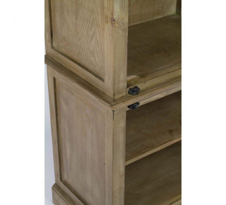 Vitrine en bois massif moderne 2 portes et 3 étagères ARNODE