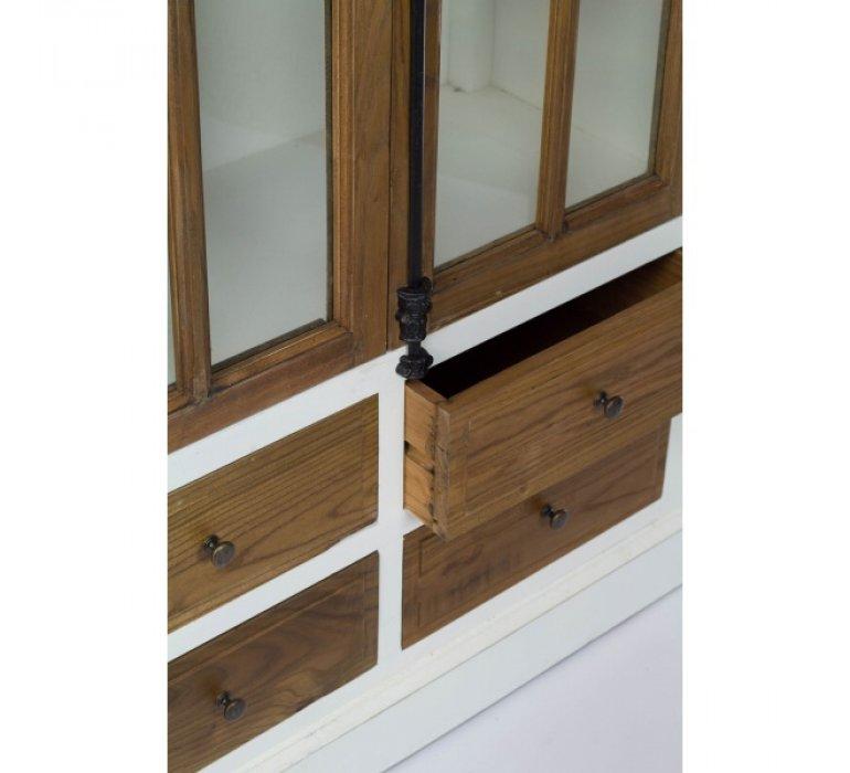 Vaisselier en bois massif et blanc 3 étagères et 4 tiroirs BLANKA