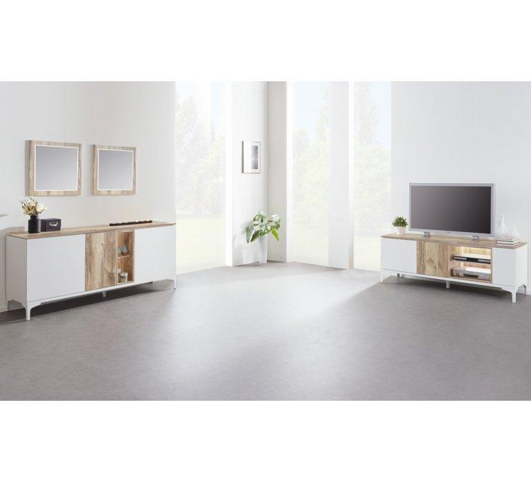 Bahut scandinave blanc et coloris bois GRIMSTAD