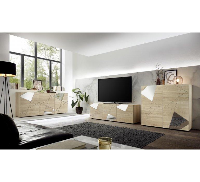 Buffet haut moderne bois clair 2 portes avec miroirs 120cm MESSINE