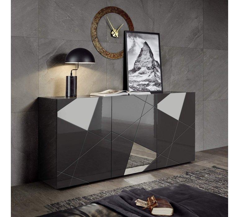 Bahut design gris anthracite 3 portes avec miroirs 180 cm BERMUDE