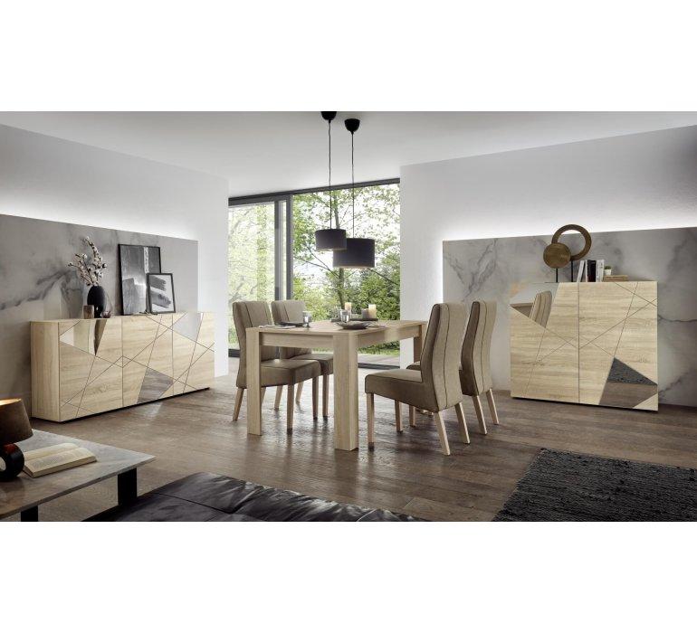Bahut moderne bois clair 3 portes avec miroirs 180 cm MESSINE