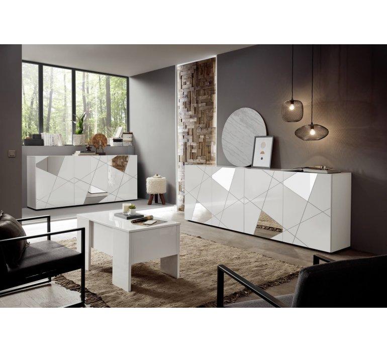 Bahut design blanc laqué 3 portes avec miroirs 180cm MILANO