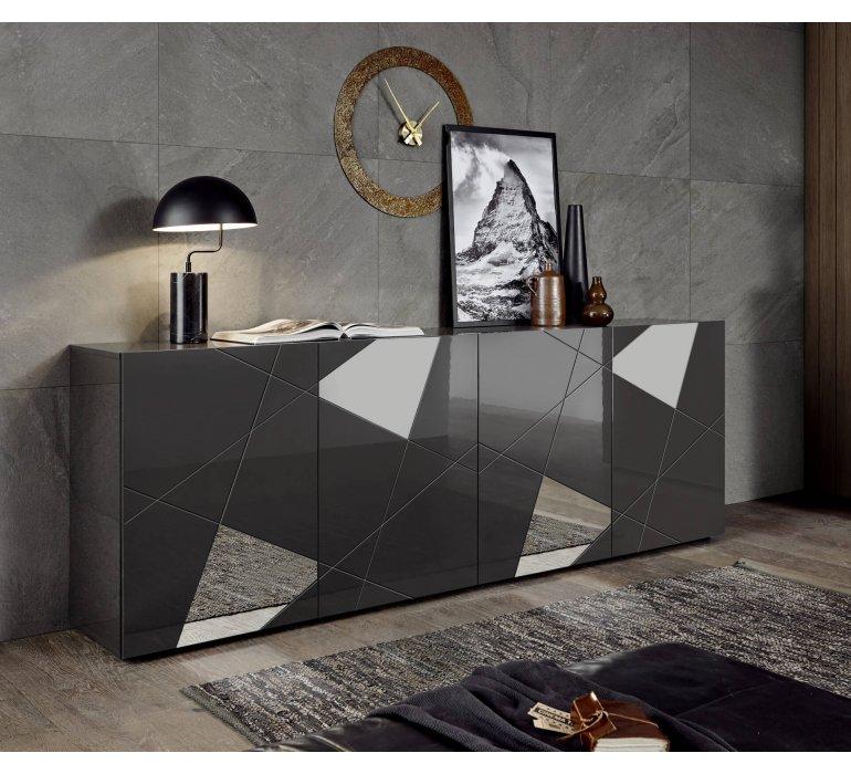 Enfilade design gris anthracite laqué 4 portes avec miroirs BERMUDE