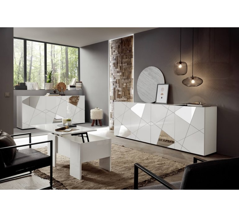 Buffet blanc laqué design 4 portes avec miroir 240 cm MILANO