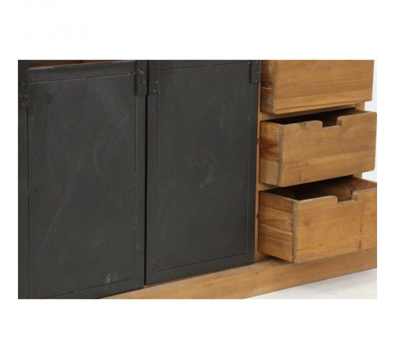 Buffet industriel 2 portes coulissantes bois massif et métal SANTY