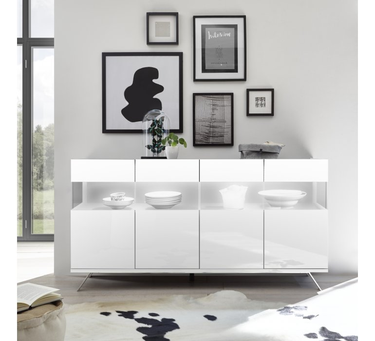 Buffet design blanc laqué 4 portes EPURA