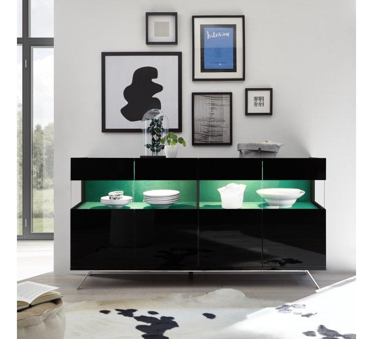 Buffet design noir laqué 4 portes avec éclairage SERENITY