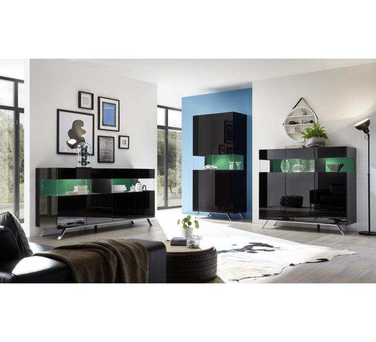 Vaisselier design noir laqué éclairage LED SERENITY