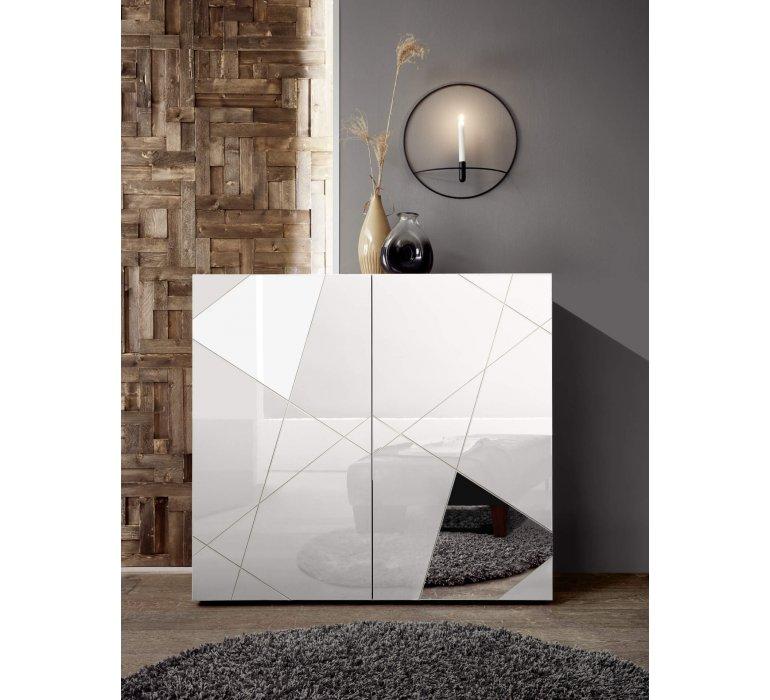 Buffet haut design blanc laqué 2 portes avec miroirs 120cm MILANO