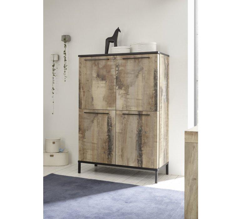 Buffet haut industriel 4 portes avec effet bois recyclé COLORADO