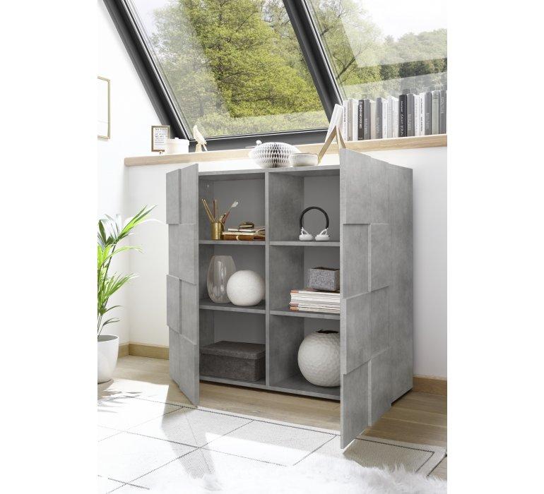 Buffet haut design 2 portes gris béton ARENA