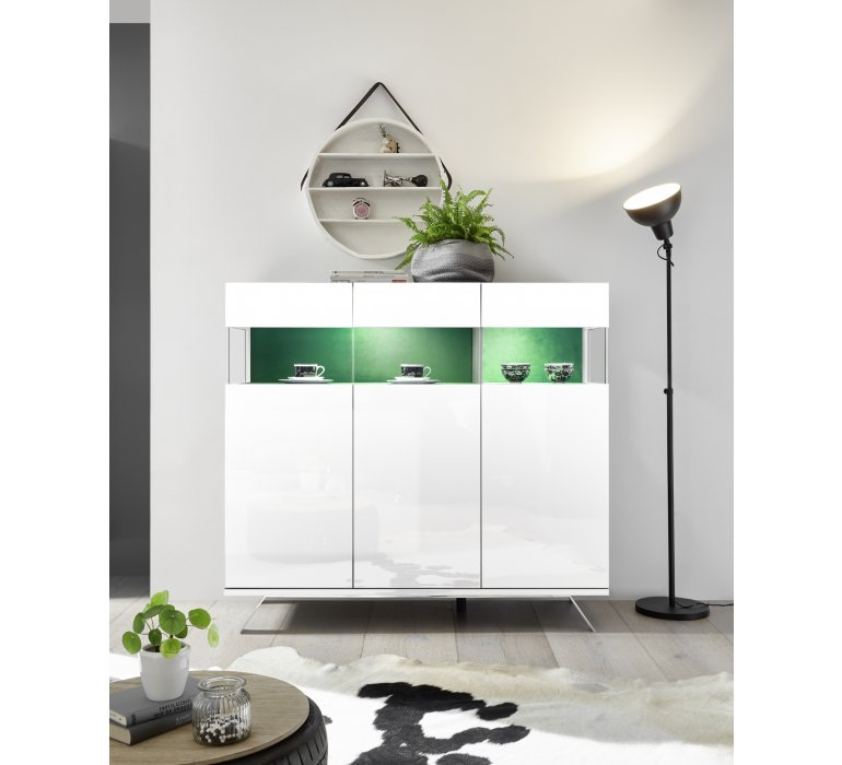 Buffet haut design blanc laqué éclairage LED  EPURA