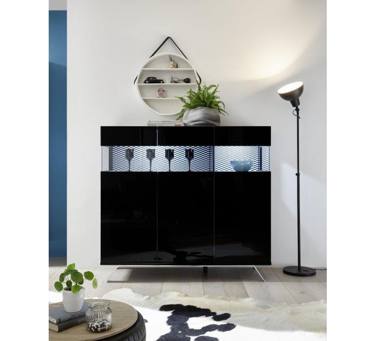 Buffet haut design LED noir laqué SERENITY