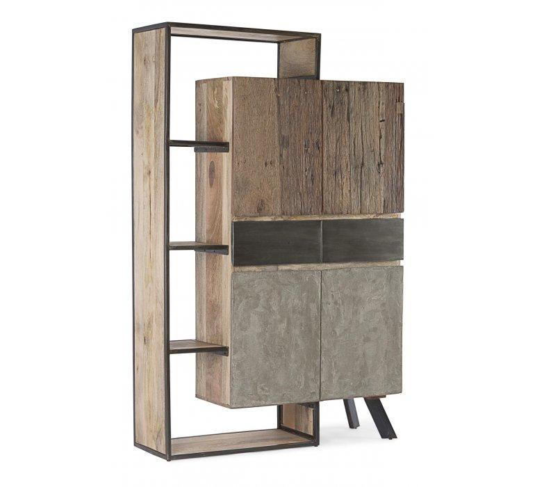 Buffet haut moderne bois métal béton BRADFORD