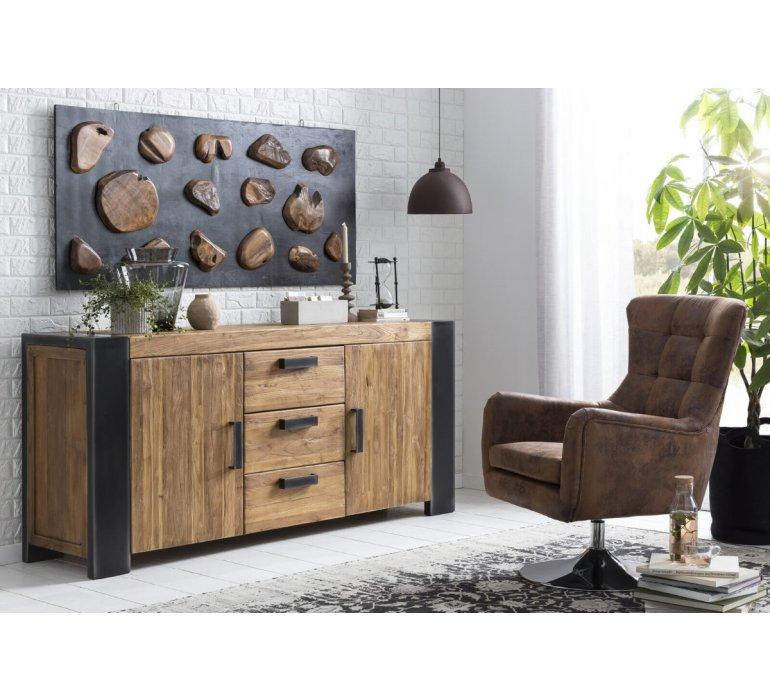 Buffet industriel bois massif et métal BRADLEY