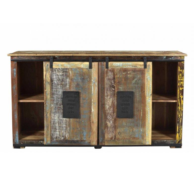 Buffet industriel bois recyclé portes coulissantes COLLYN