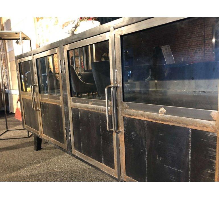 Buffet industriel noir bois massif et métal BLACKPEARL