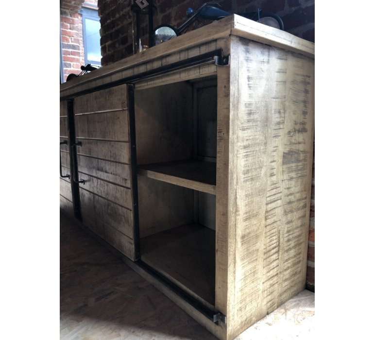 Buffet industriel portes coulissantes bois et métal LOFT