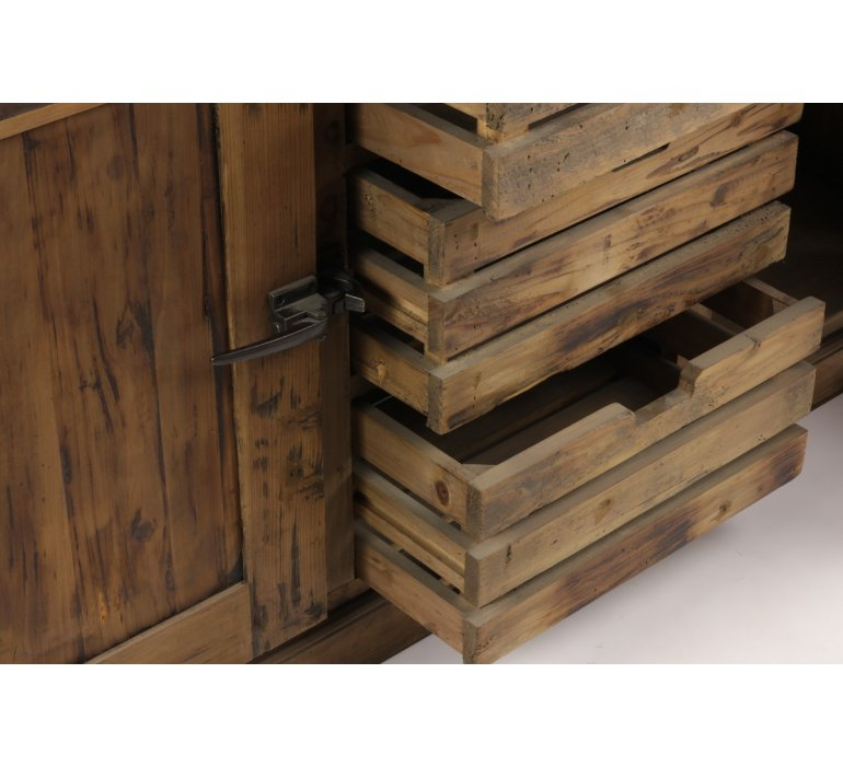 Buffet industriel style frigo bois et zinc 160cm KANSAS