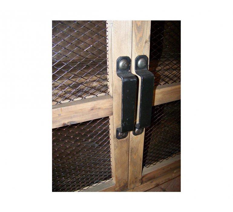 Buffet industriel sur roulettes bois et métal portes grillagées OREGON