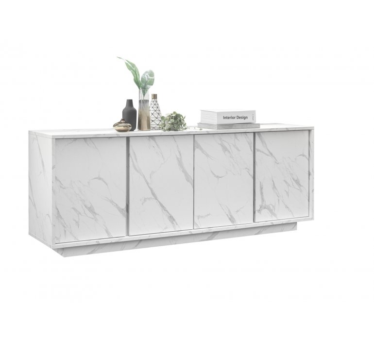 Buffet moderne blanc 4 portes effet marbre THALES