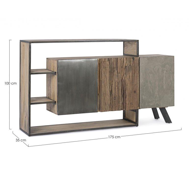 Buffet moderne bois métal béton BRADFORD